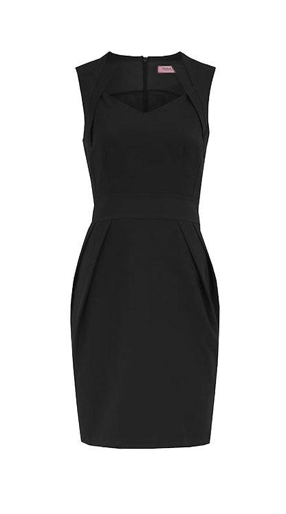 【BASIC】BLACK PLEATED SHEATH DRESS【WDS 1702】C+