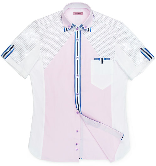 White & Pink Short Sleeves With Stripe Detail