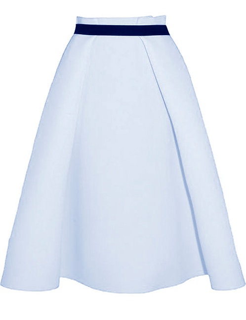 【BASIC】PALE BLUE MIDI SKIRT WITH BLACK BELT【WSK 1729】C++