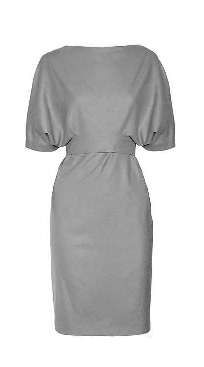 【CHIC】GREY DLBOW SLEEVES BELTED DRESS【WDS 1710】C+