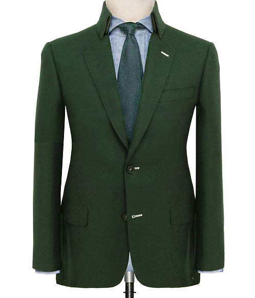 DARK GREEN TWILL TAILORED SUIT W/F STAND UP COLLAR