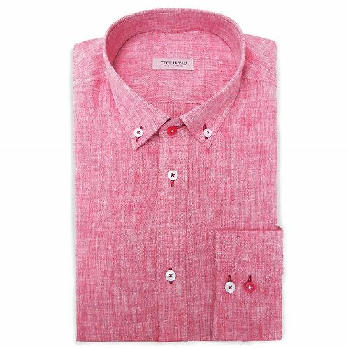 Red 100% Fine Linen Super Soft Casual Shirt