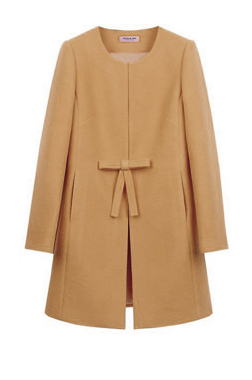 MUSTARD BOW A-LINE COAT【WCT 1614】