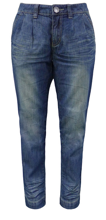 BLUE MOM JEANS WITH CREASES【CM1328-18】