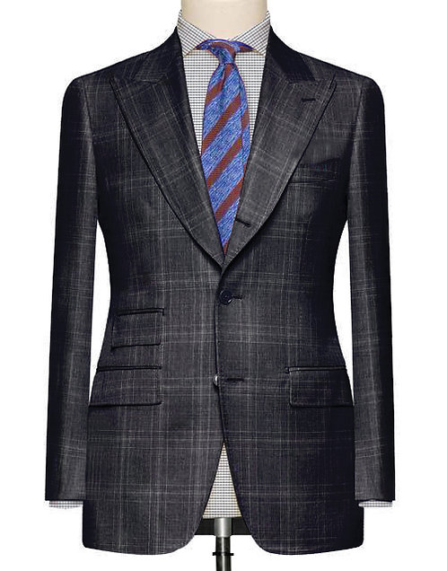 CHARCOAL BLACK GLEN CHECK SLIM FIT SUIT WITH IVY STYLE