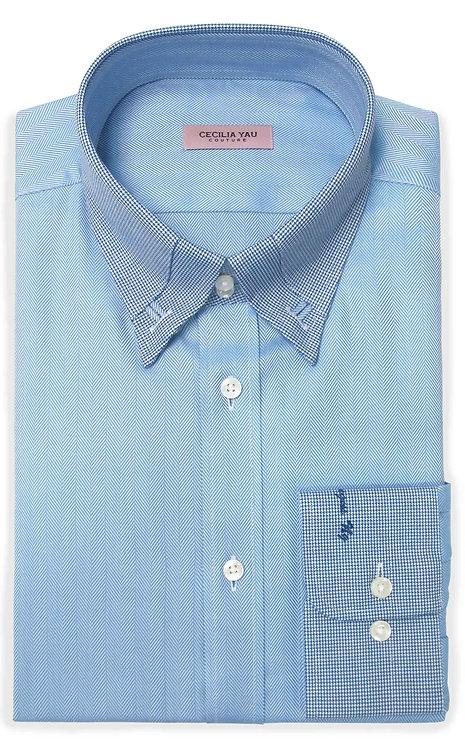 Blue Herringbon Contrast Collar & Cuff