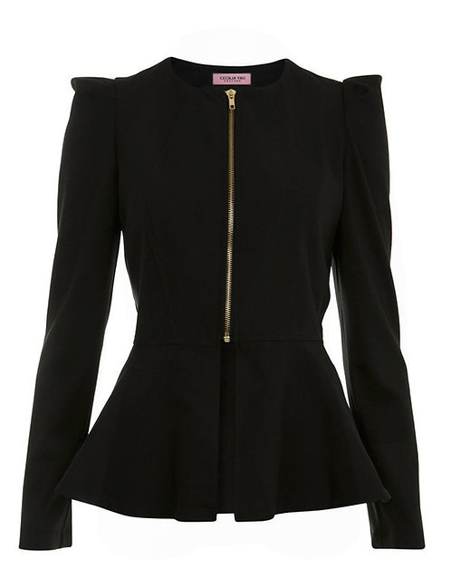 【CHIC】BLACK PEPLUM JACKET WITH GOLD ZIPPER【WJK 1706】C+
