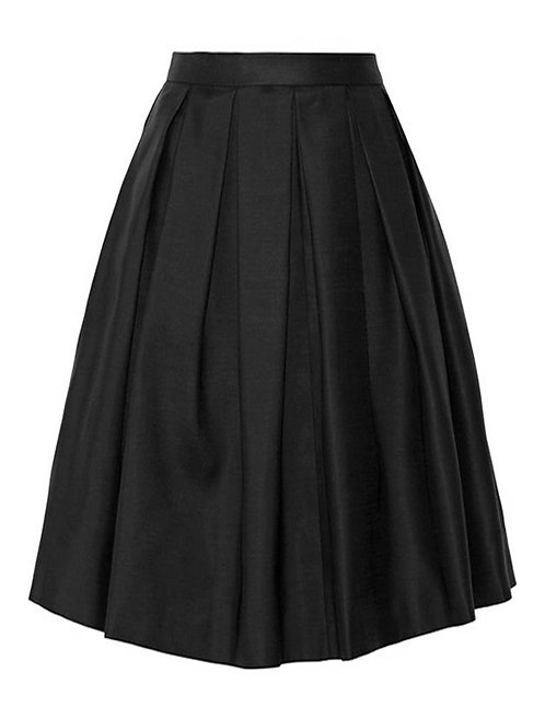 【BASIC】BLACK PLEATED MIDI SKIRT【WSK 1720】C++