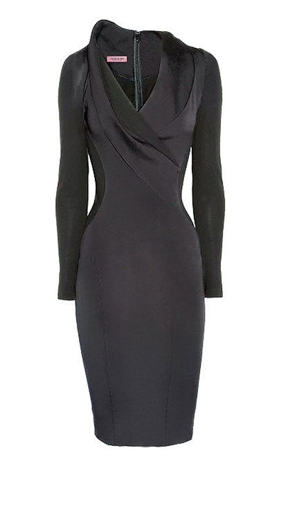 【BASIC】CHARCOAL SHEATH DRESS【WDS 1740】C+++