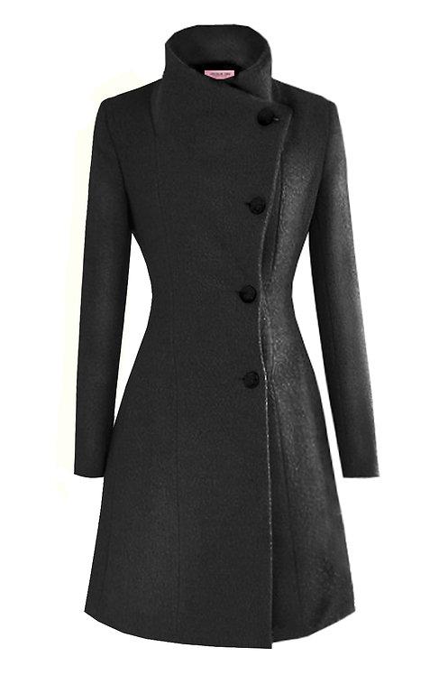 CHARCOAL BLACK STAND COLLAR PRINCESS COAT【WCT 1601】