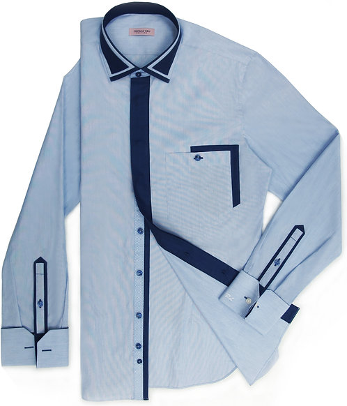 Soft Sky Blue Shirt with Navy Color Decoration