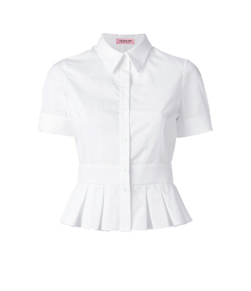 【CHIC】PIGEON WHITE PLEATED SHORT SLEEVED BLOUSE【WSH 1721】C++