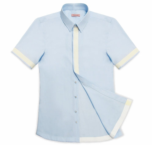 SKY BLUE SHORT SLEEVED CAUSAL SHIRT WITH RIBBON