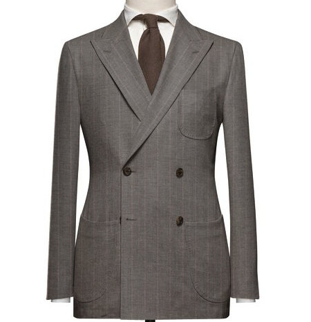 Grey / Beige Chalk Stripe Double Breasted Suit