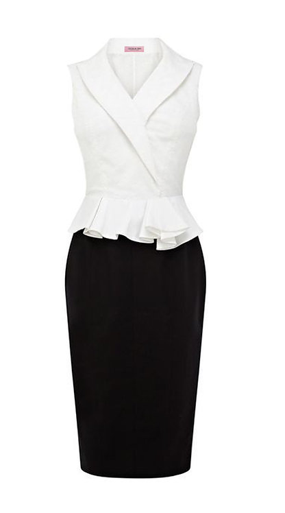 【CLASSIC】BLACK AND WHITE WRAP PEPLUM DRESS【WDS 1707】C++