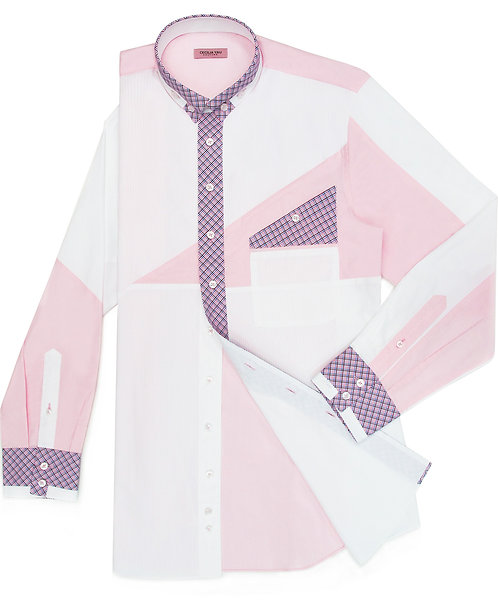 White Shirt with Pink Patches