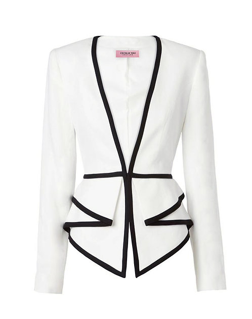 【CHIC】BLACK AND WHITE PEPLUM JACKET【WJK 1719】C++