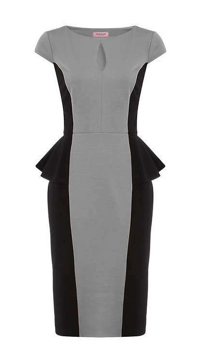【CHIC】BLACK AND GREY PEPLUM SHEATH DRESS【WDS 1714】C++