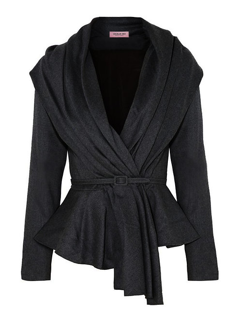 【CHIC】CHARCOAL BLACK DRAPING PEPLUM JACKET【WJK 1707】C+++