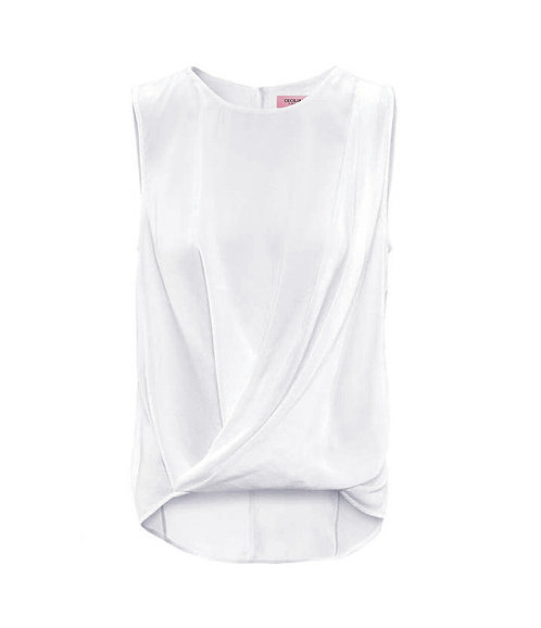 【BASIC】WHITE DRAPING SLEEVELESS BLOUSE 【WSH 1714】C+