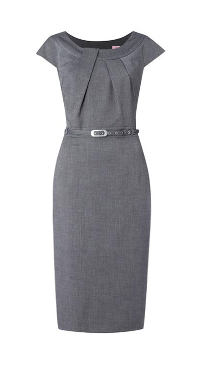 【CLASSIC】GREY BELTED DRAPING SHEATH DRESS【WDS 1712】C++