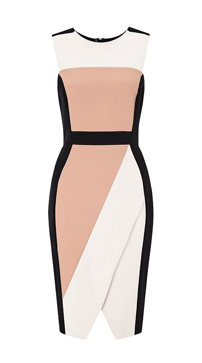 【CHIC】BLACK WHITE PEACH SHEATH DRESS【WDS 1736】C++