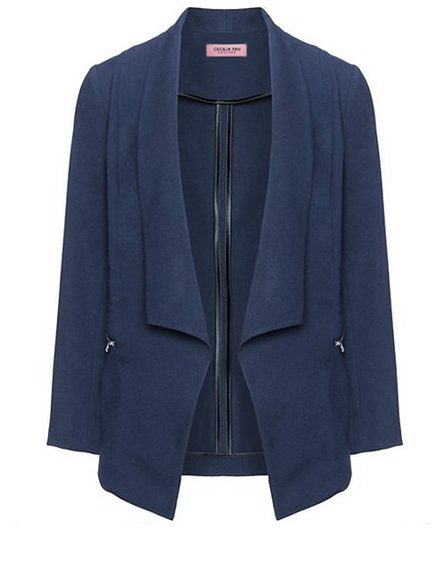 【BASIC】MIDNIGHT BLUE SHAWL LAPEL BLAZER WITH ZIPPERS【WJK 1742】C+