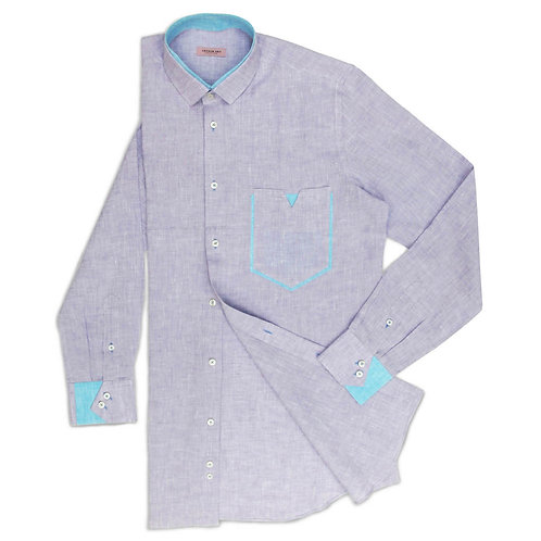 PURPLE ASH LINEN SHIRT WITH SPECIAL POCKET