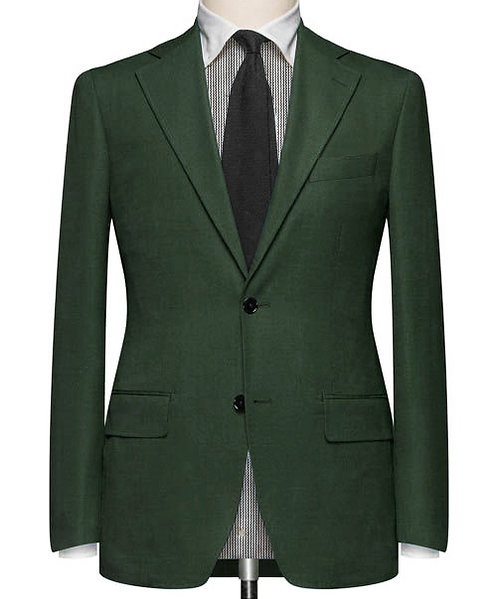 DARK GREEN TWILL TAILORED SUIT