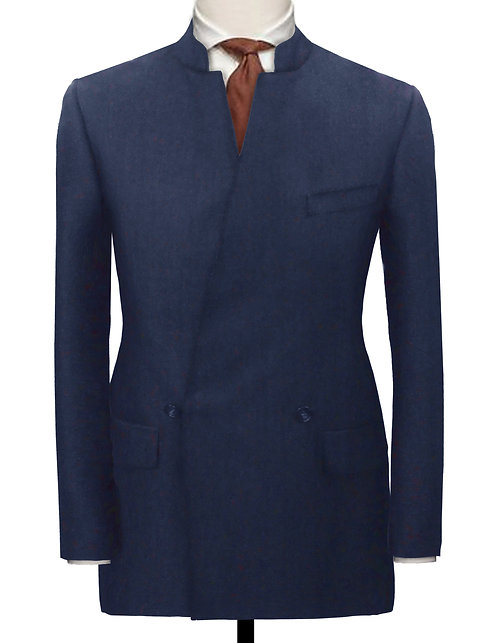 NAVY DOUBLE BREASTED CHINESE TUNIC SUIT