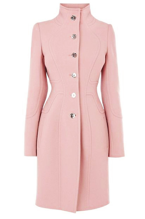 PINK STAND COLLAR SHAPED COAT【WCT 1612】