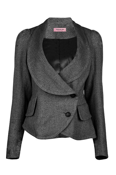 【CHIC】CHARCOAL TAILORED IRREGULAR JACKET【WJK 1748】C++