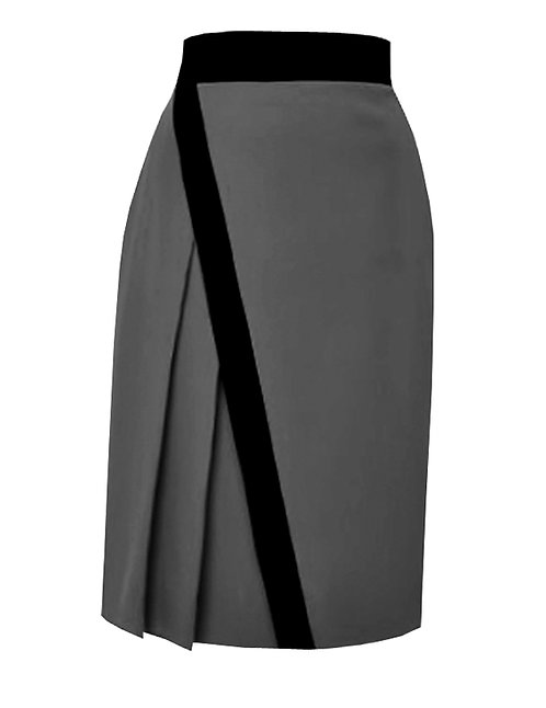 【CHIC】GREY AND BLACK ONE-SIDE PLEATED SKIRT【WSK 1713】C+++