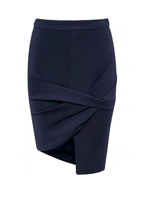 【CHIC】NAVY WRAP SKIRT【WSK 1728】C+++