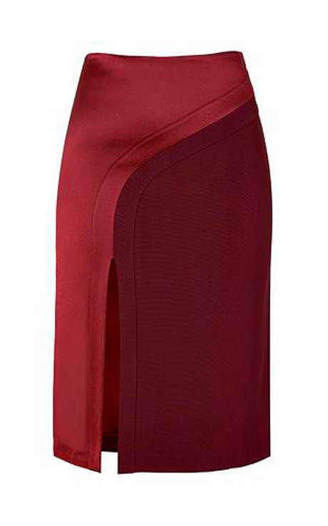 【CHIC】MIDI SKIRT IN SHADES OF RED【WSK 1745】C+++