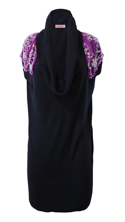 【CHIC】BLACK KNITTED EMBROIDERED SHOULDERS DRESS【WDS 1650】C++