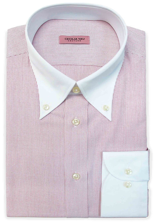 Red & White Stripes with Contrast Collar & Cuff Egyptian Cotton