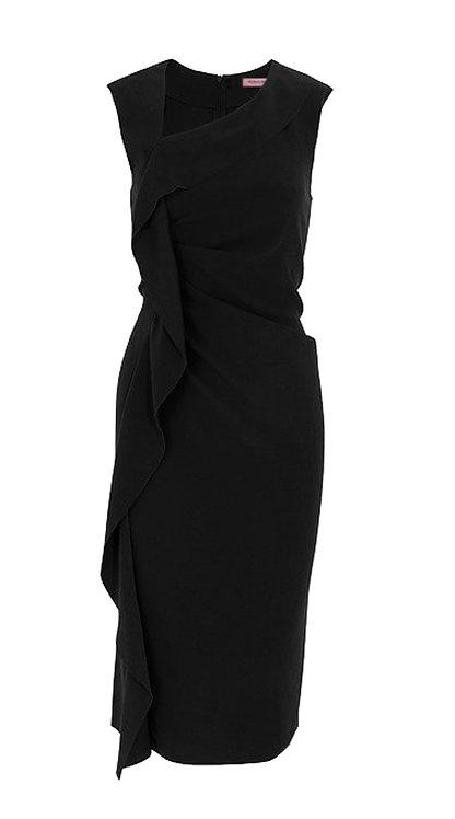 【CHIC】BLACK RUFFLED SHEATH DRESS【WDS 1706】C+++