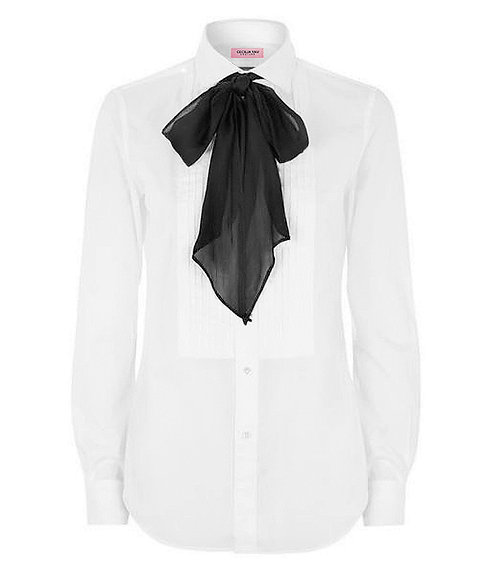 【CHIC】TUXEDO BLOUSE WITH BLACK BOW 【WSH 1705】C+