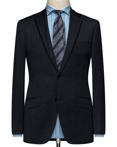 BLUE AND BLACK CHALKSTRIPE TAILORED SUIT