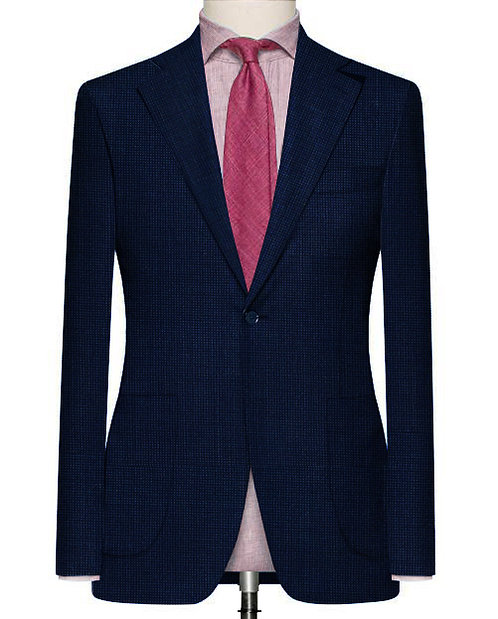 DEEP BLUE DOTTED SLIM FIT SUIT