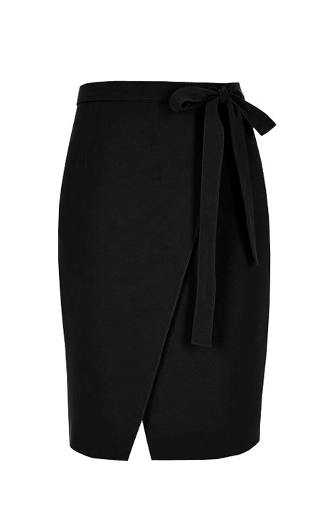 【CHIC】BLACK WRAP BOW SKIRT【WSK 1736】C+