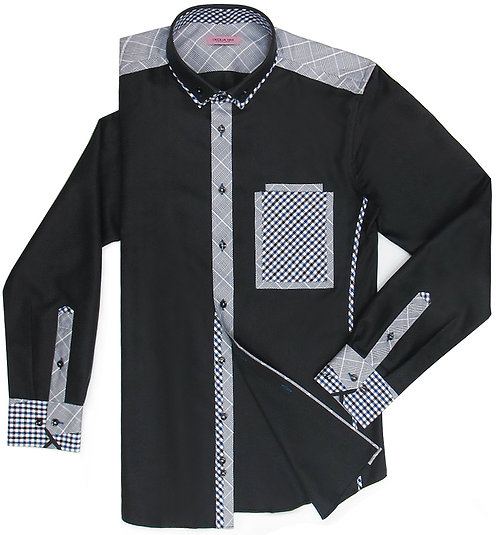 Black with Check Details Shirt
