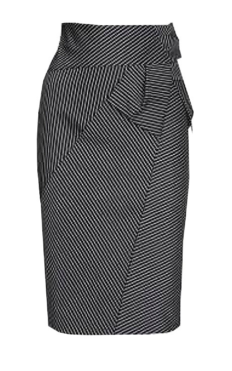 【CHIC】BLACK AND WHITE PINSTRIPE MIDI SKIRT【WSK 1703】C+