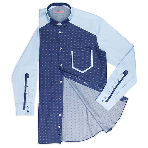 CAUSAL DIFFERENT SHADES OF BLUE SHIRT