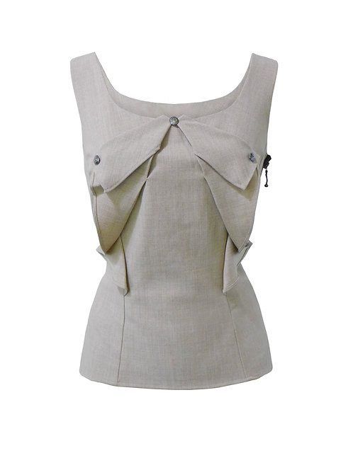 BEIGE TIGHT FIT SLEEVELESS BLOUSE 【WSH 1719】C++