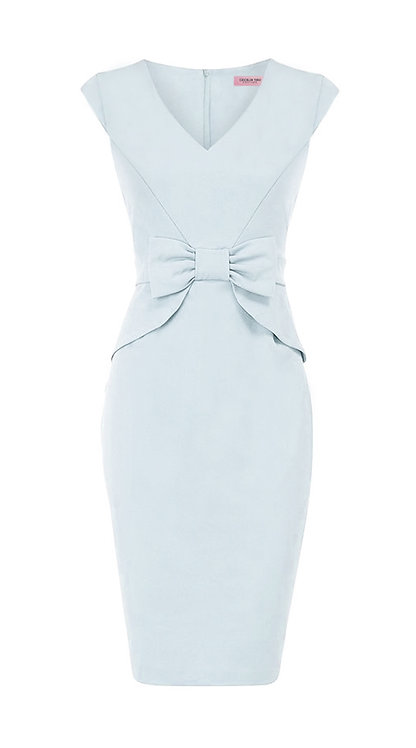 【CHIC】SERENE BLUE BOW SHEATH DRESS【WDS 1749】C++