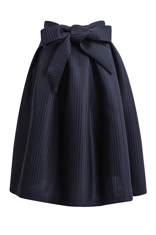 【CHIC】NAVY PINSTRIPE HIGH WAISTED BOW FLARE SKIRT【WSK 1723】C+