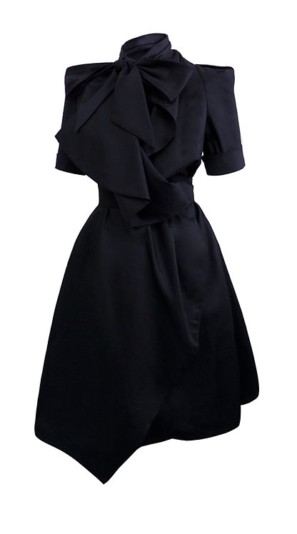 【CHIC】BLACK SHORT SLEEVES WRAP DRESS WITH BOW【WDS 1753】C+