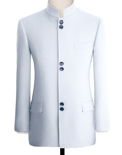 SNOWY WHITE CHINESE TUNIC SUIT